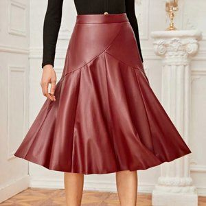 Solid Faux Leather Skirt